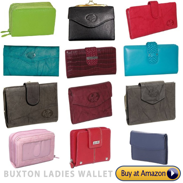 buxton ladies brand name wallets and other leather goods