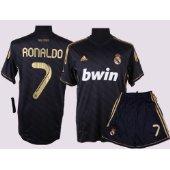 ronaldo black soccer jersey & shorts